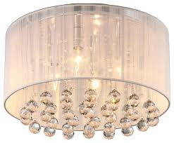 afaura 4 light crystal flush mount with drum shade white