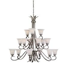 sea gull lighting rialto 15 light antique brushed nickel chandelier
