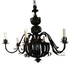 pair of italian wrought iron mid century six light chandeliers for