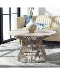 Pelangi round rattan wicker coffee table with glass, white washby sk new interiors. Amazing Deal On Safavieh Whent Modern Rattan Round Coffee Table 31 5 W X 31 5 L X 17 7 H White Washed Black