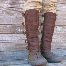 steampunk oiled chocolate brown leather shin guards or gaiters with antique brass hardware 78