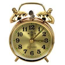 mini cute round horseshoe mechanical golden alarm clock manual wind up vintage desktop table metal clock