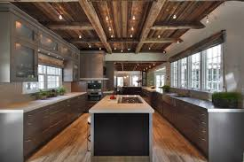captivating modern kitchen with rustic rendering of dark wood ceiling with beams and lighting completed with sleek grey cabinet and island hardwood flooring cabinet and lighting