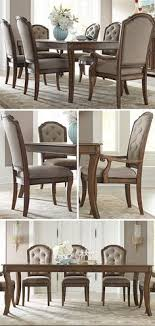 this seven piece rectangular table set will give your dining room a traditional and cally elegant