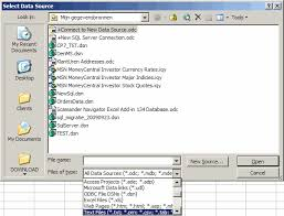 the select data source dialog of excel 2003