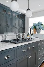 gray kitchen cabinets painted. fabulous kitchen features dark gray cabinets painted porter\u0027s paint bronze paired with luce di luna quartzite countertops and a white beveled subway p