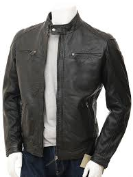 men s leather biker jacket in black kielce front