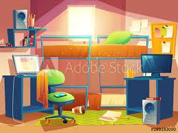 Vector cartoon illustration of small dorm room dormitory interior