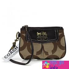 Cepsym Beige In Coach Madison Signature Small Wristlets