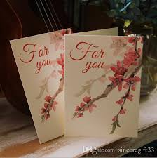 Wedding Ceremony Card Chinese Painting Peach Blossom Valentines Day Gift Card Festival