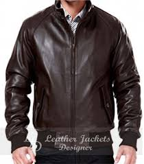 mens classic er style brown leather jacket front view