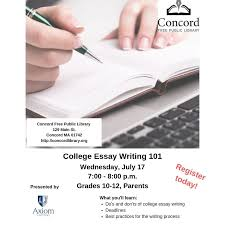 College Essay Writing Workshop College Essay Writing 101 Living Concord