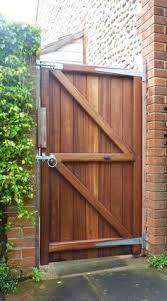 flat top side garden gate constructed from the finest hand selected iroko timber rear