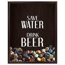 save water drink beer bottle cap holder shadowbox in espresso com