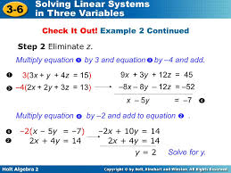 holt algebra 2 3 6 solving linear systems in three variables 3 3x