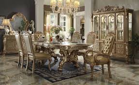 dresden dining table 63150 in gold tone patina by acme w options