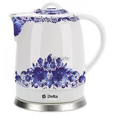 <b>Чайник Delta DL-1233B</b> Синие цветы – купить в Санкт-Петербурге