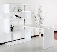 white modern office. Sky High Office Desk With Attached Bookshelf White Modern T