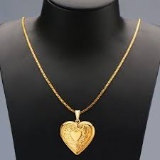 charm necklace 18k gold plated heart shaped photo frame