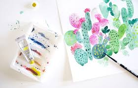 watercolour cactus painting tutorial