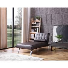Office chaise Living Room Brown Button Tufted Back Convertible Chaise Lounger With Lumber Support Pillow9002611br The Home Depot Room Board Brown Button Tufted Back Convertible Chaise Lounger With Lumber