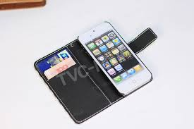 horizontal stripes leather wallet case removable pc shell for iphone 5s 5 black stripes