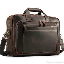 men leather 15 6 laptop briefcase business shoulder bag tote computer bags satchel work bag women retro style famous 258272