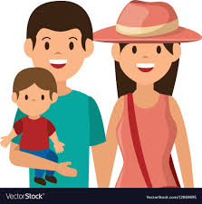 cute family member on vacations vector image