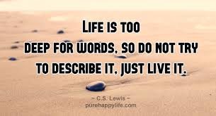 Deep Quotes About Life Inspiration Life Quotes Life Is Too Deep For Words So Don't Try To Describe