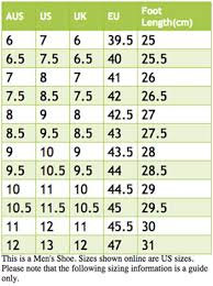 Skechers Mens Shoes Size Chart