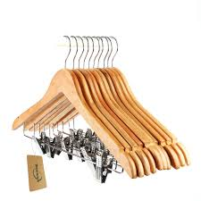 Amazon.com: Tosnail 10-Pack Wooden Pant Hanger, Wooden Suit Hangers with  Steel Clips and Hooks, Natural Wood Collection Skirt Hangers, Standard  Clothes ...