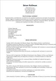 Resume Templates: Entry Level Mechanic Resume