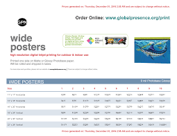 Price List Format Wide Format Posters 19