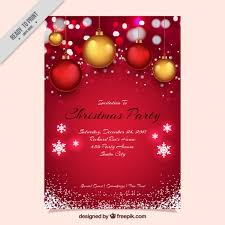 Christmas Backgrounds For Flyers Red Christmas Party Invitation With Balls And Snowflakes