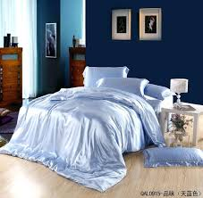 light blue azure mulberry silk bedding set king size queen s sets duvet cover bedsheet quilt