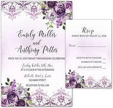 Design and order unique wedding invitations for your special day. Amazon Com 100 Wedding Invitations Purple Plum Lavender Damask Floral Design Envelopes Response Cards Set Kitchen Dining