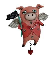 Allen Designs Details About Allen Designs When Pigs Fly Pendulum Wall Clock 13 In