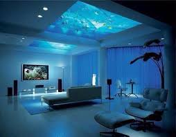 Fish tank in the ceiling.