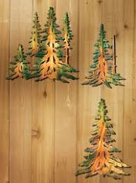 >new 4 pc evergreen pine tree forest timber woodland wall art set  wild wings home decor 5512469101 pine tree metal wall art