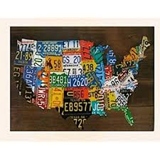 usa license plate map print wood frame wall decor on license plate map wall art with amazon usa license plate map print wood frame wall decor