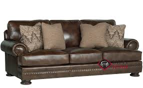 foster leather sofa with down blend cushions by bernhardt in 266 220