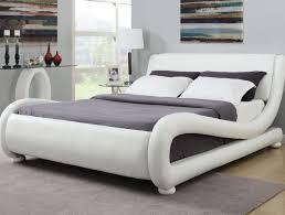upholstered bed frame. White Leatherette Upholstered Bed Frame - CA300070C T