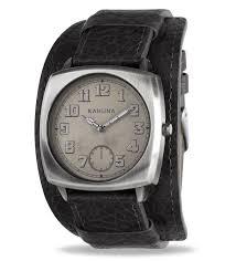 kahuna men watches quartz grey dial black leather cuff kuc 0057g
