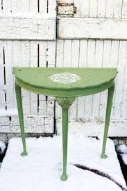 half moon table. Vintage Half Moon Table In Miss Mustard Seed Milk Paint Luckett\u0027s Green With White Stencil Detail