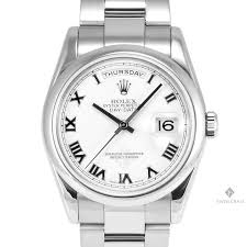 men s rolex day date white gold white r numeral marker dial rolex day date president 18k white gold watch