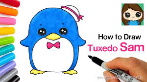 cute penguin drawing. Plain Cute How To Draw A Cute Penguin  Sanrio Tuxedo Sam In Drawing O