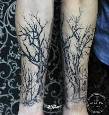 фото татуировки лес в стиле скетч стайл татуировки на предплечье