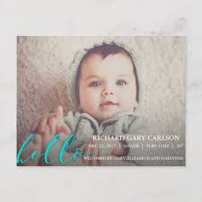 baby postcard hello modern birth announcement baby postcard zazzle com