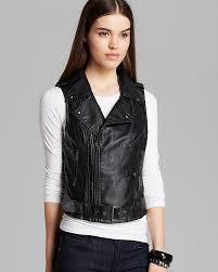 guess vest faux leather fiona moto