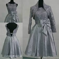 Silver Grey Short Bridesmaid Dress Modest Taffeta With Bow Lace